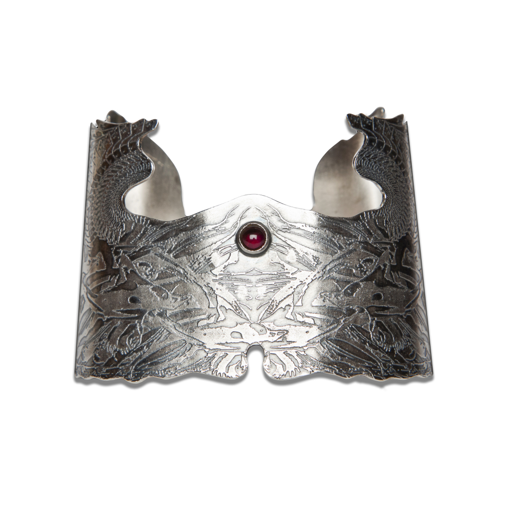 Etched silver cuff with garnet, by Becky Dockree