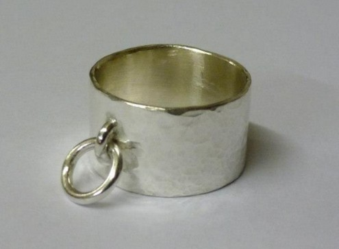 silver ring made by student at Flux Studios, ring making weekend workshop