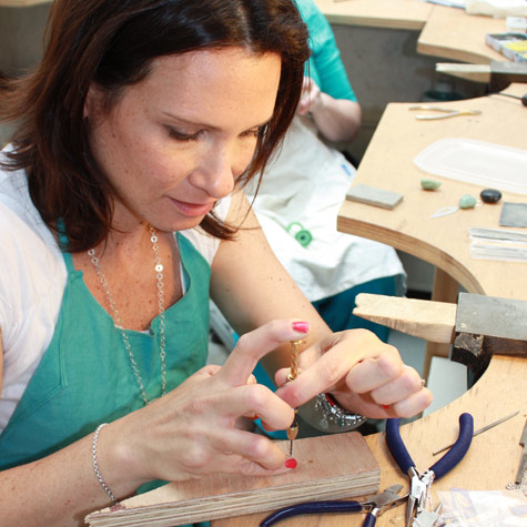 Jewellery students at work at Flux Studios