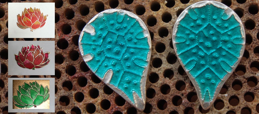 blue cold enamel on etched silver earrings, by Radha; copper Lotus pendants with applied cold enamel