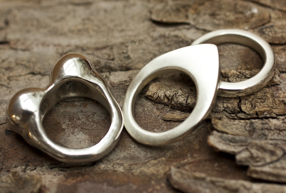 Rings carved from wax and cast in silver