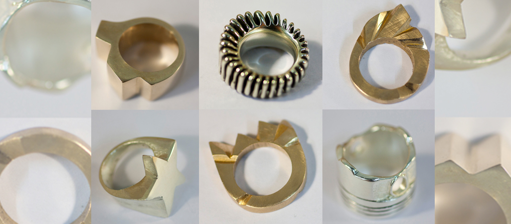 Examples of rings cast in silver and bronze, from wax carving