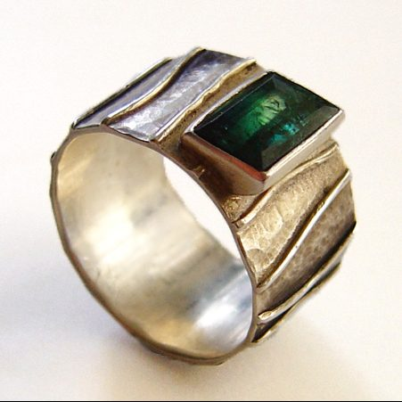 Silver ring with tourmaline by Vicky Forrester