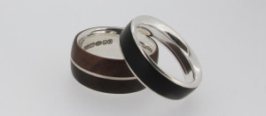 Wood and silver ring by Nic Webb