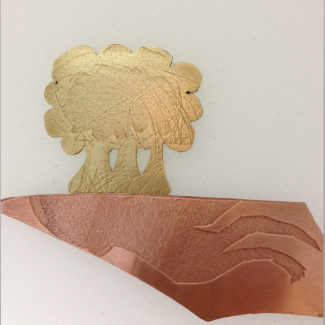designs in copper  and brass exploring line and texture, for SW10 jewellery making workshop