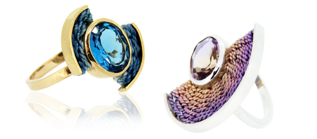 silcer rings with hand dyed silk and precious stones