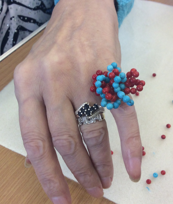 Beaded ring made by one of our camberwell residents