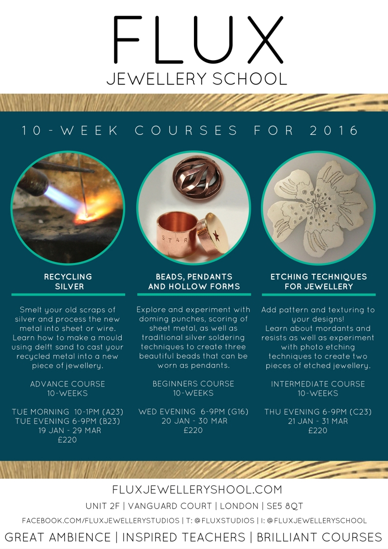 Jewellery courses for beginners, intermediate and advanced students