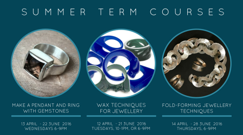 examples of jewellery people can make on jewellery courses in fold forming, wax carving and stone setting, all starting April 2016