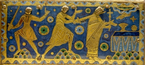 enamelled panel showing the murder of Thomas Becket