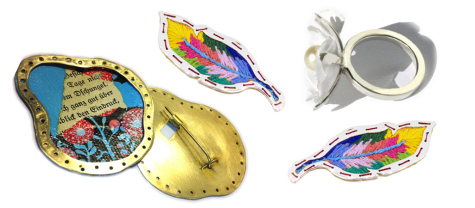 Fabric, threads and papers can be combined with metal to make unusual jewellery