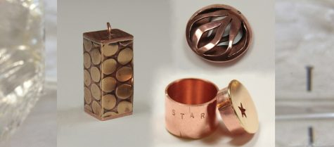 examples of decorative hollow pendants and a box