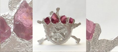 delft sand cast pewter ring with tourmaline chips