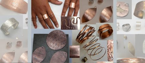 examples of textures impressd on copper jewellery