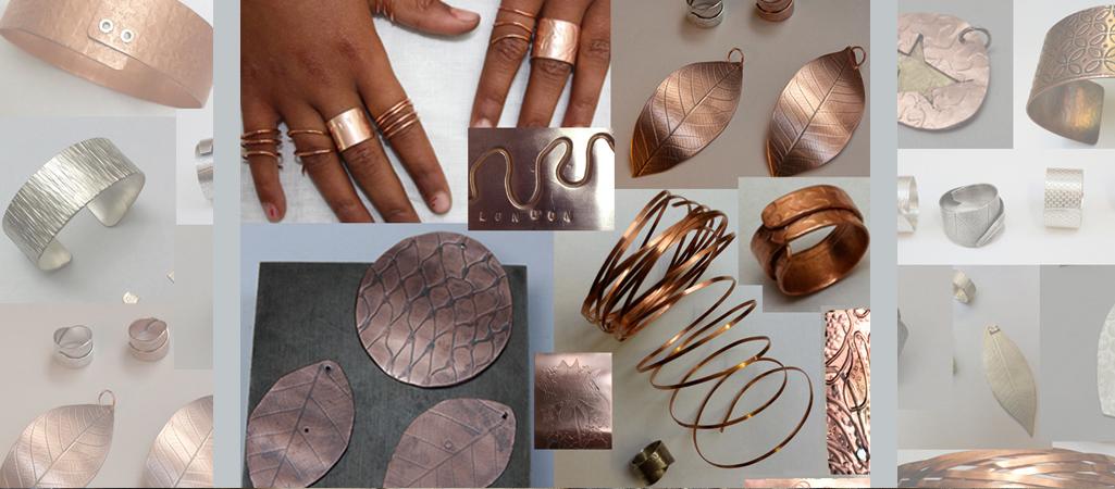 examples of textures impressd on copper jewellery