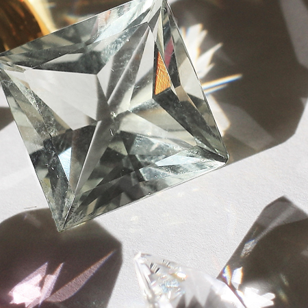 Rock Crystal, Prasiolite, CZ, Diamond, Lemon Quartz, Morganite