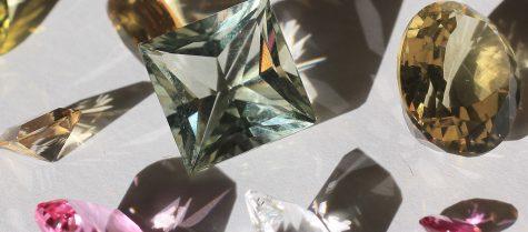 Diamond, Cubic Zirconia, Topaz, Sapphire, Morganite, Kunzite, Quartz.
