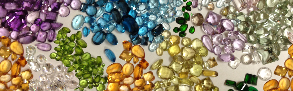 beautiful gemstones - amethyst, citrine, peridot, CZ, topaz, aquamarine, lemon quartz, morganite, diopside, prasiolite,